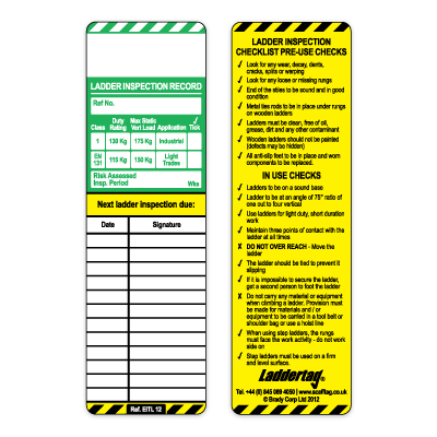 Ladder Inspection Tagging Systems Scafftag