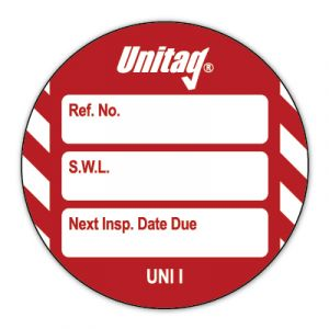 Unitag® Inserts - Safe working load (SWL) Next Inspection Date Due