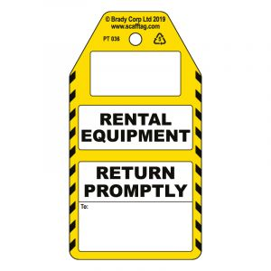 Rental Equipment (return to) tag (Pack of 50)