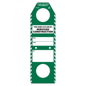 Hose in use (construction services) tag (Pack of 50)