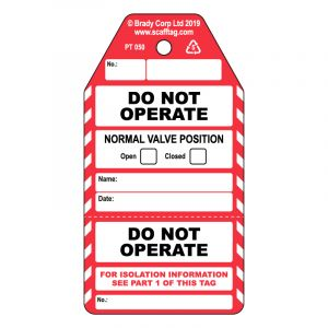 Do Not Operate 2 part Valve tag (Pack of 50)