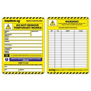 Temporary Work Tag Insert
